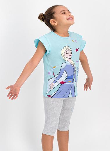 Frozen  Lisanslı Krem Kız Çocuk Tayt Kapri Takım Mavi